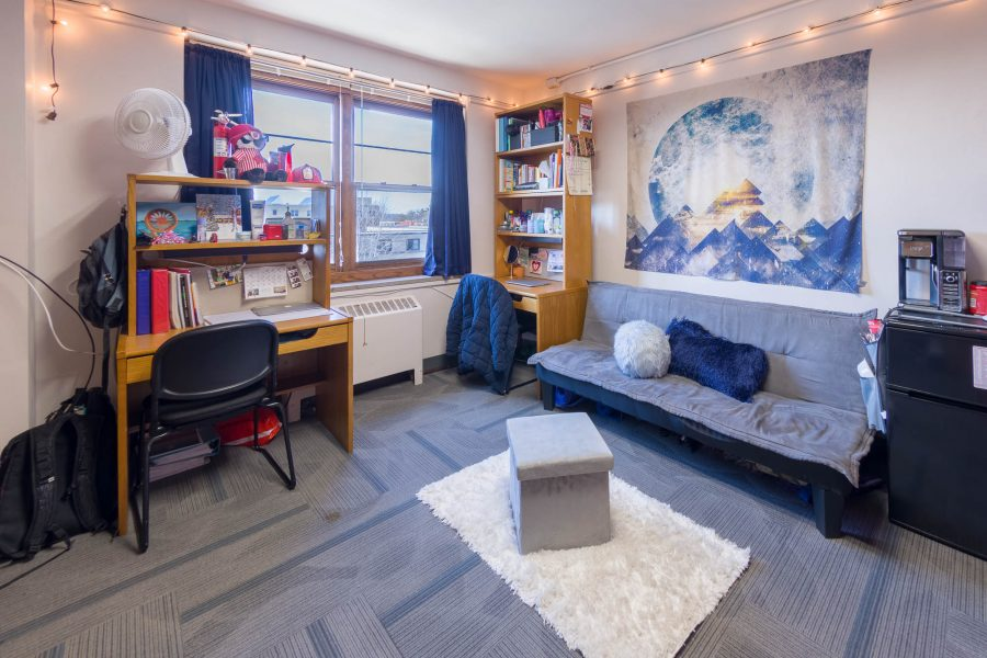 A double room in Slichter Residence Hall in 2018