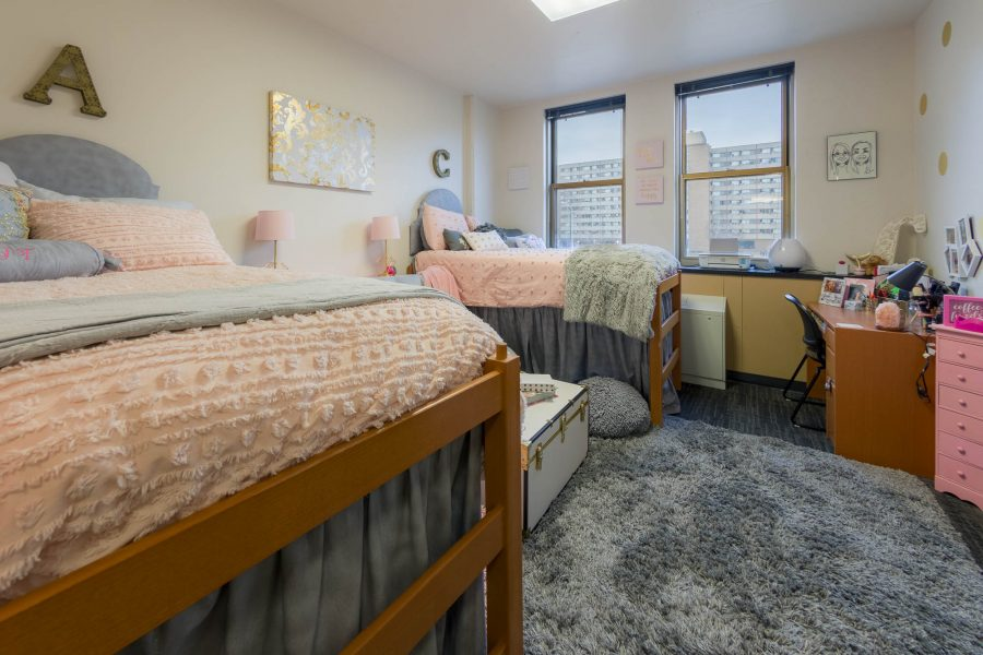 A double room in Ogg Residence Hall in 2018