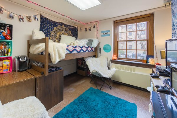 A single room in Tripp Residence Hall in 2018