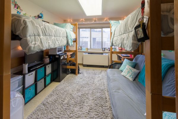 A double room in Chadbourne Residence Hall in 2018