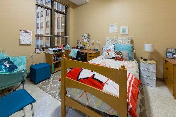 A single room in Smith Residence Hall in 2018