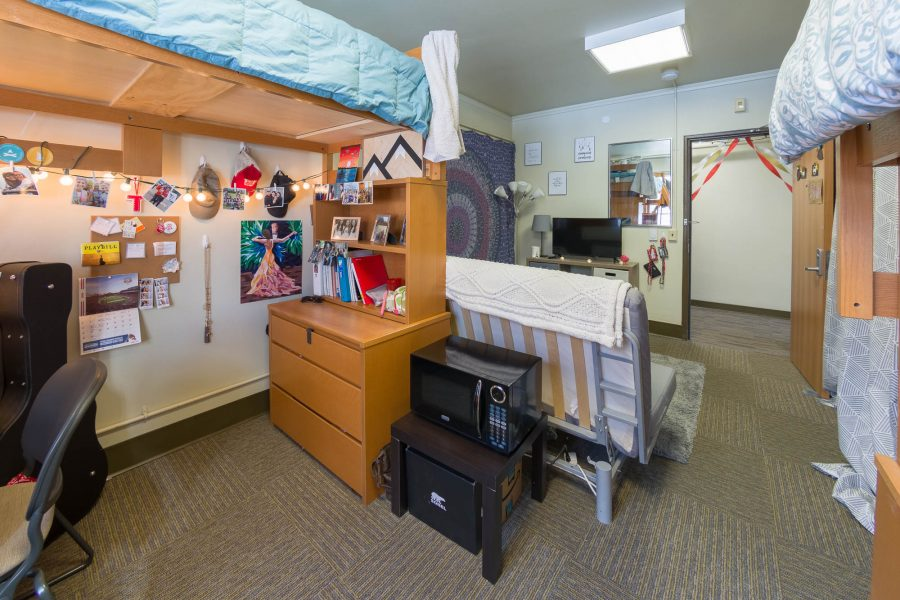 A double room in Waters Residence Hall in 2018