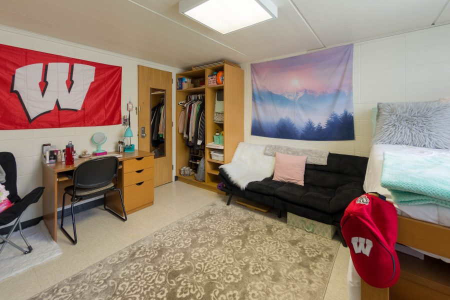 A single room in Davis Residence Hall in 2018