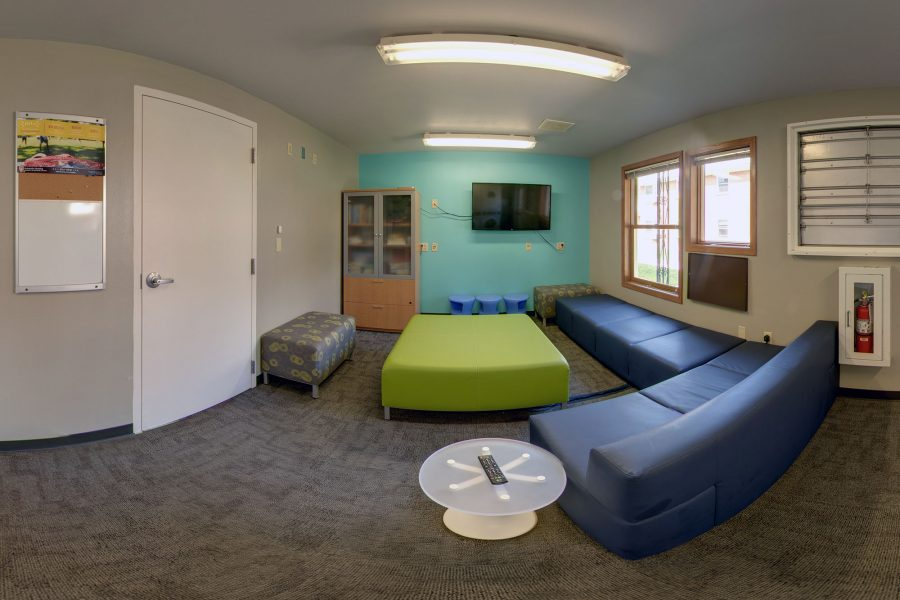 The laundry/common area in Harvey Street in 2018