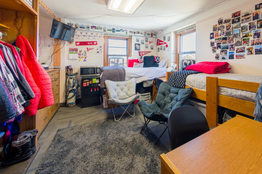 A double room in Slichter Residence Hall in 2019