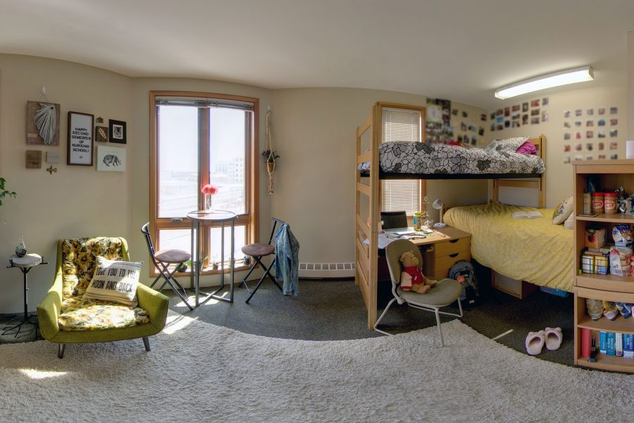 A double room in Merit Residence Hall in 2019