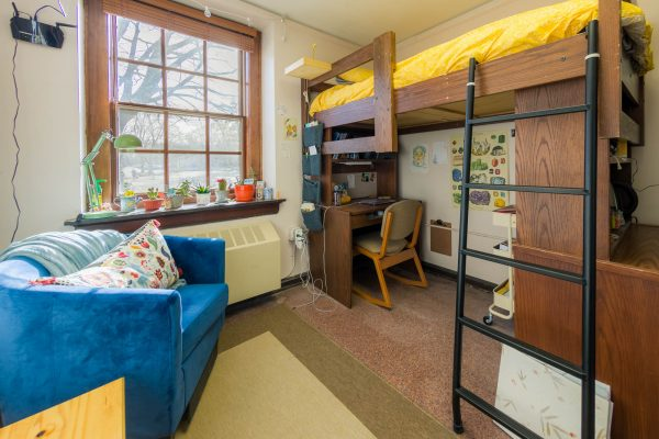 A single room in Adams Residence Hall in 2019