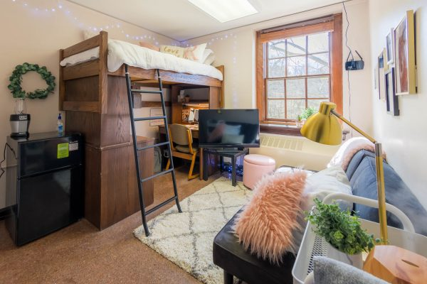 A single room in Tripp Residence Hall in 2019