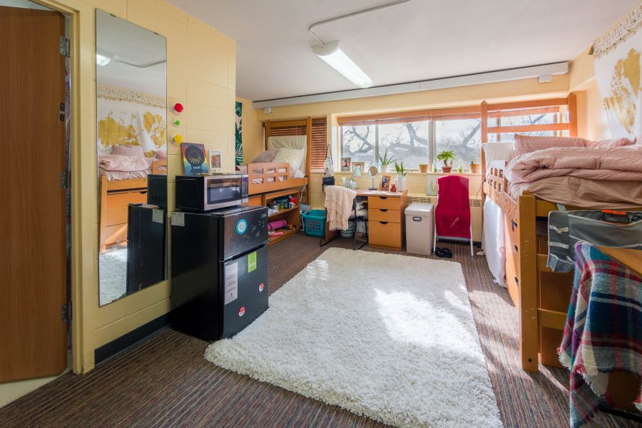 A double room in Phillips Residence Hall in 2019