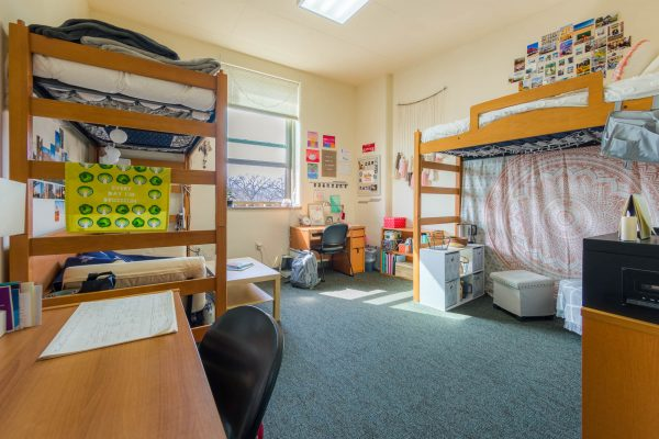 A double room in Dejope Residence Hall in 2019