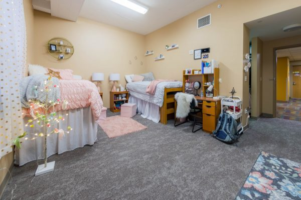 A double room in Smith Residence Hall in 2019