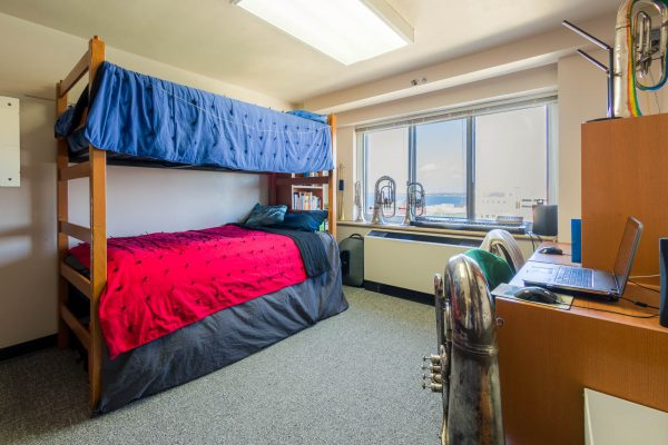 A double room in Chadbourne Residence Hall in 2019