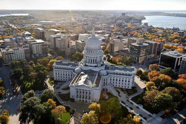 Aerial photo of downtown Madison