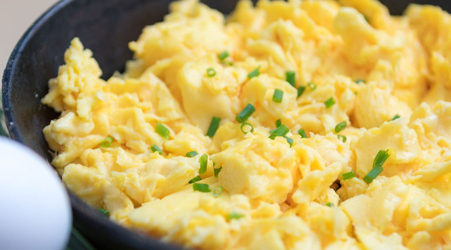 Skillet of scrambled eggs