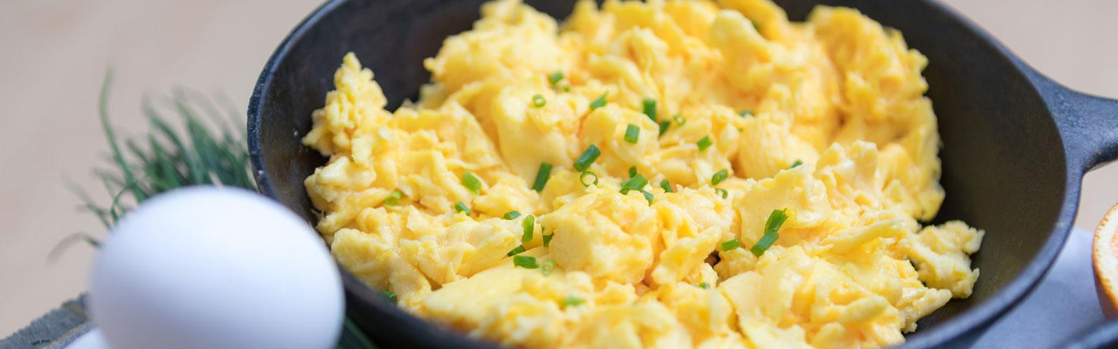 Skillet of scrambled eggs
