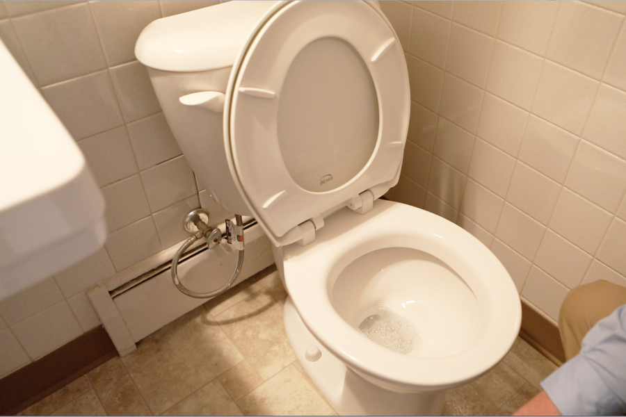 Open toilet in University Apartments