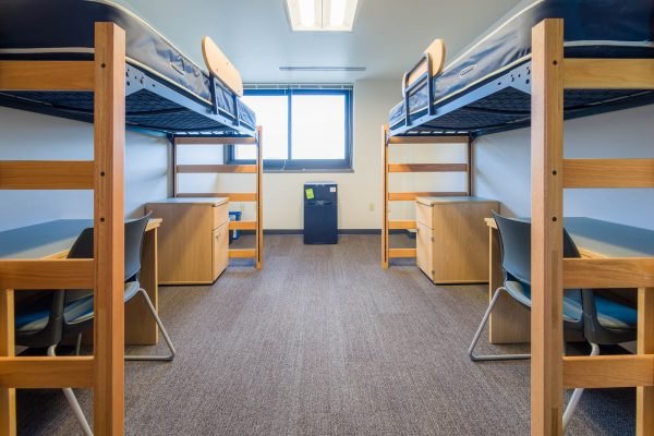 An interior view of a 2-Window Double room on the 11th floor of Witte Residence Hall