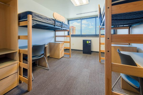An interior view of a 3-Window Double room on the 11th floor of Witte Residence Hall