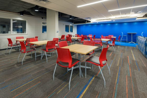 Interior of the lower level lounge in Witte Residence Hall