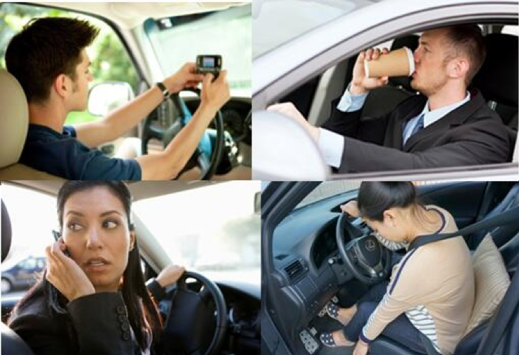 Collage of distracted drivers; texting, drinking coffee, talking on the phone