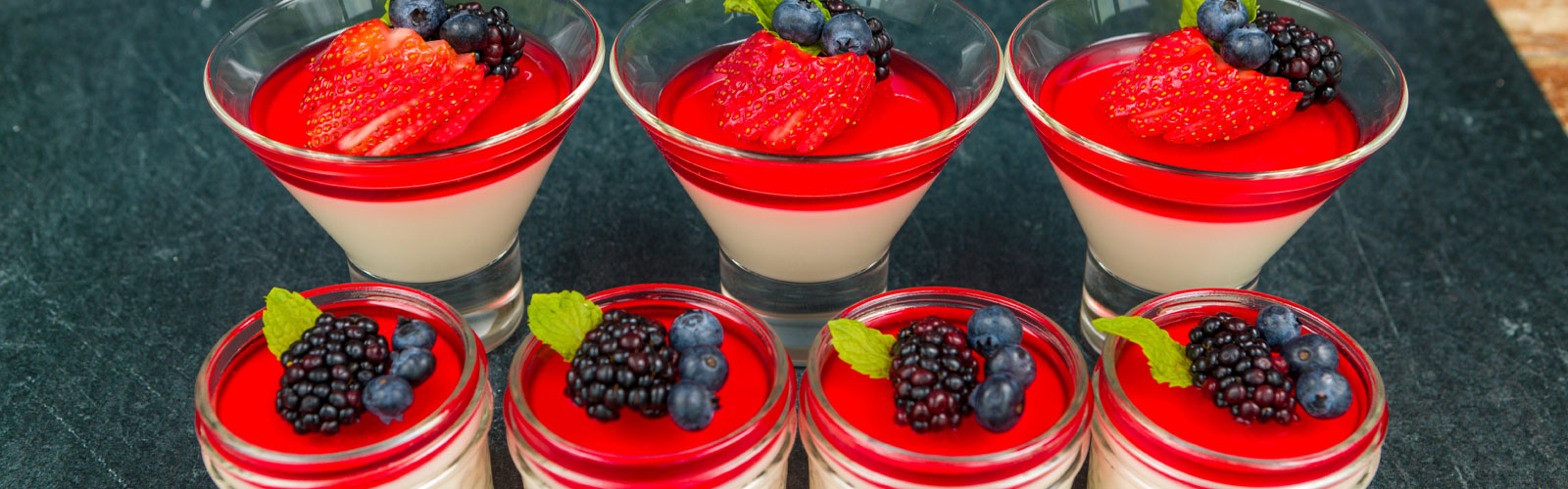Panna Cotta desserts in glass jars