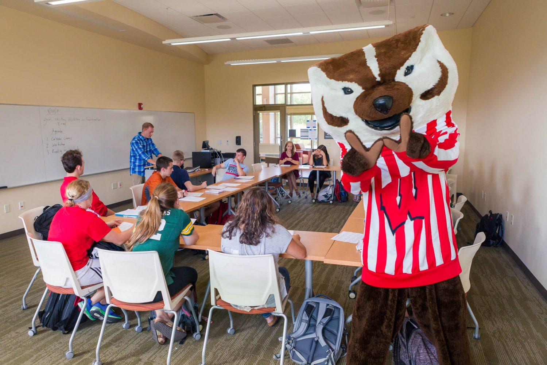 Bucky in a residence hall classroom