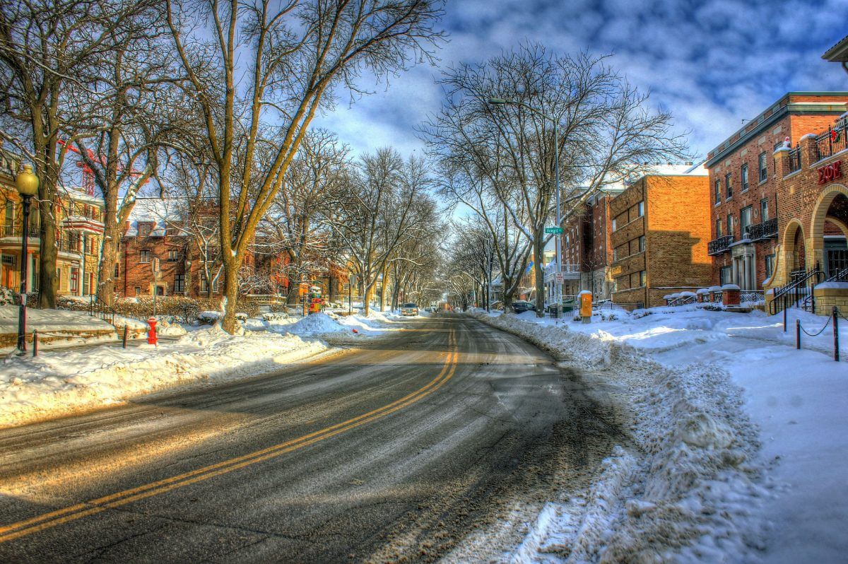 Snowy street in down town Madison