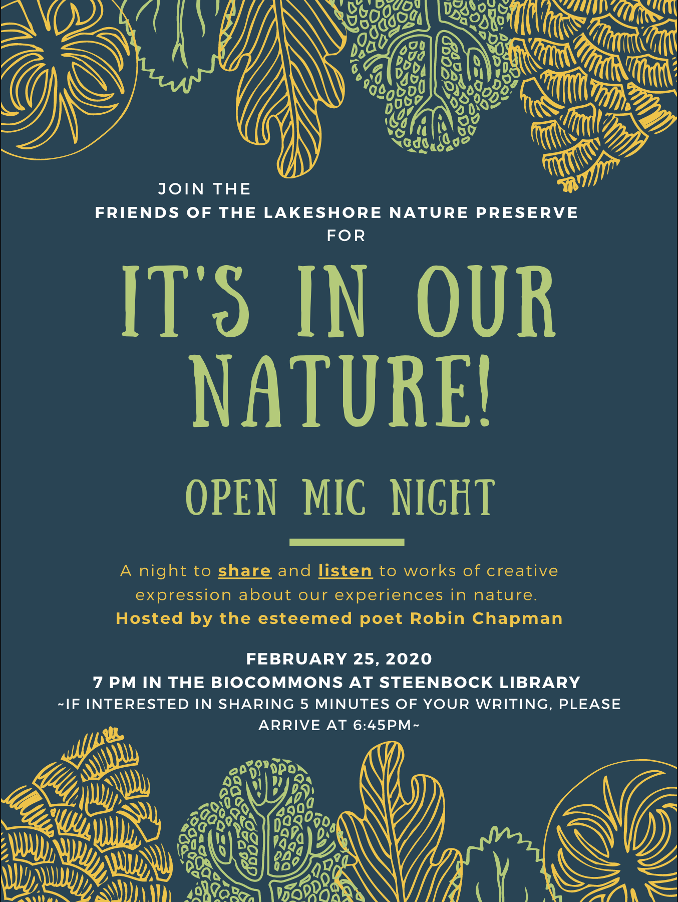 Open Mic Night, Feb. 25 at Biocommons at Steenbock Library