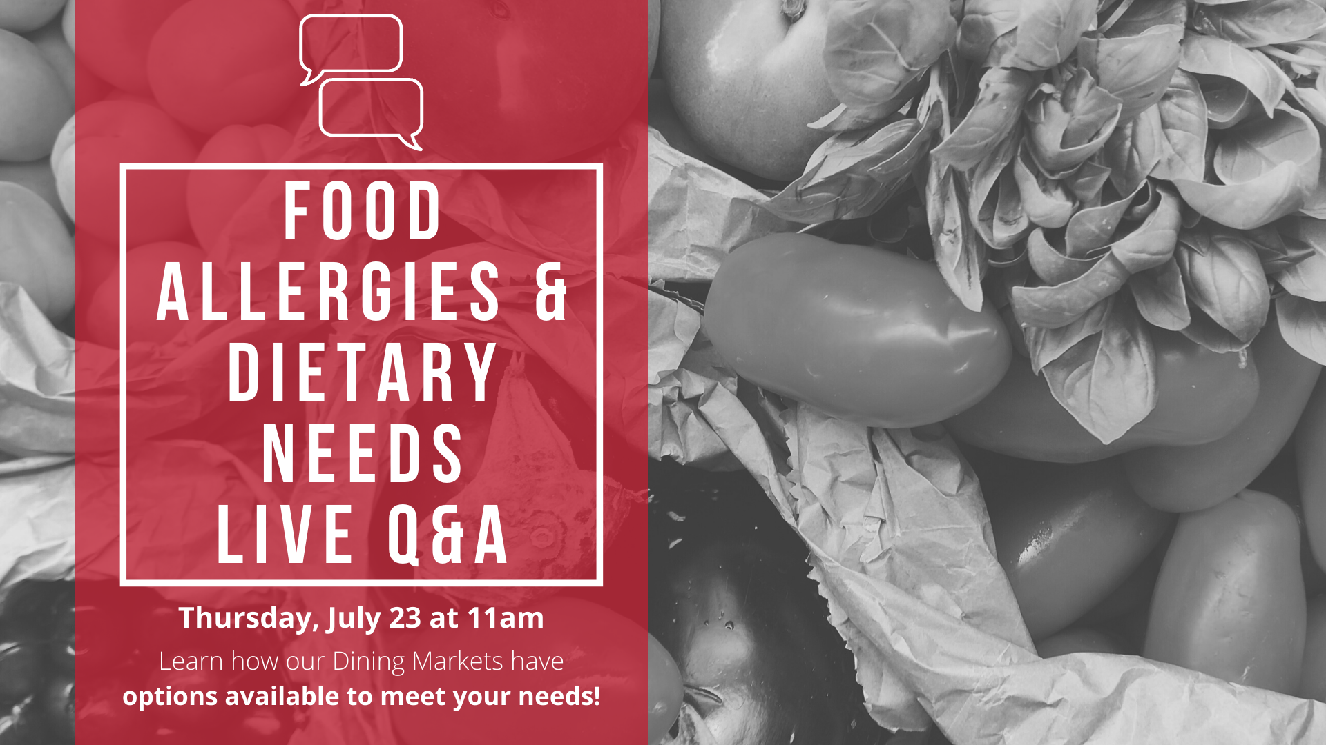 Food Allergies & Dietary Needs Live Q & A, 7/23 at 11am CDT