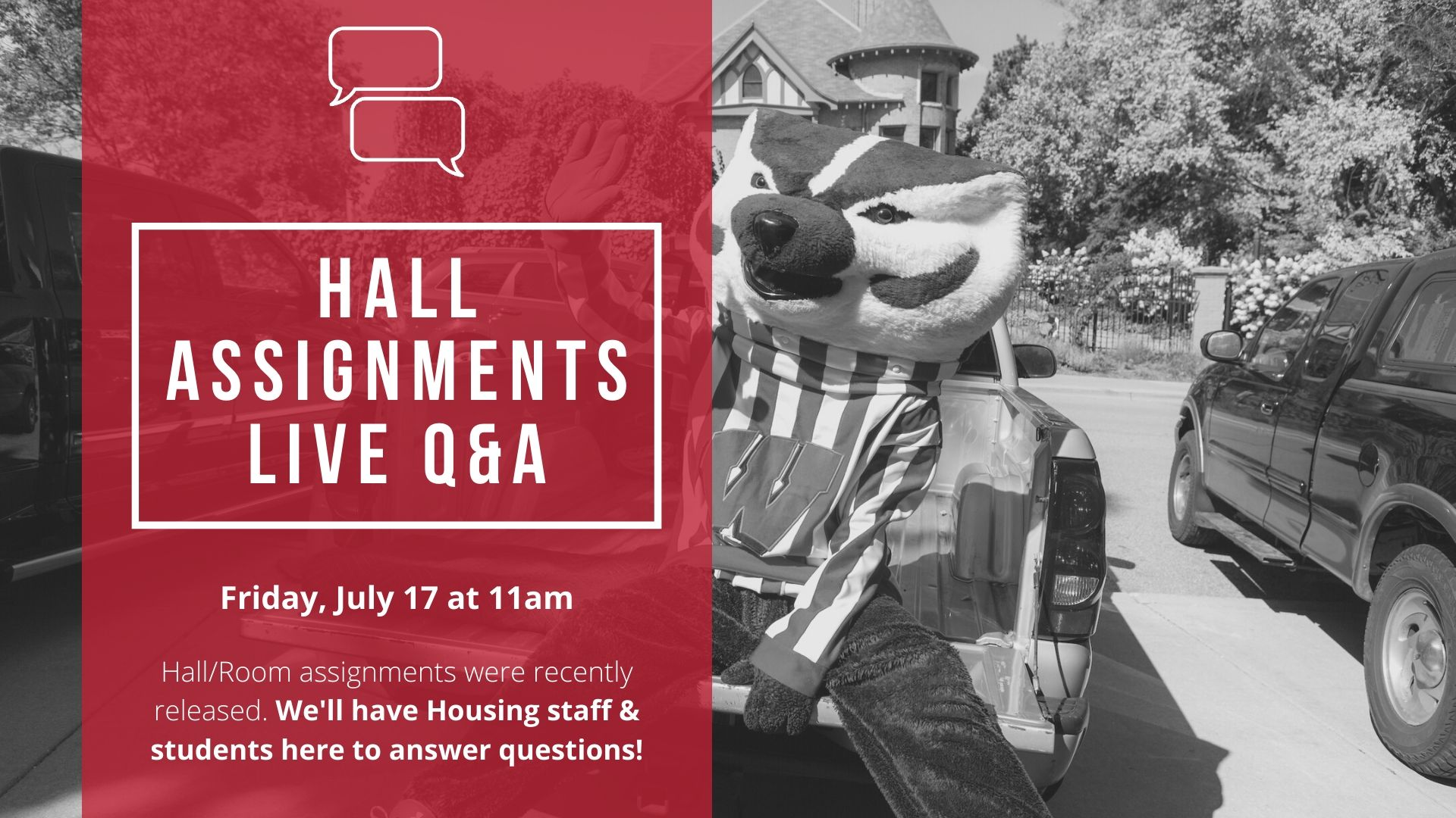 Hall Assignments Live Q & A., Friday, July 17 at 11am