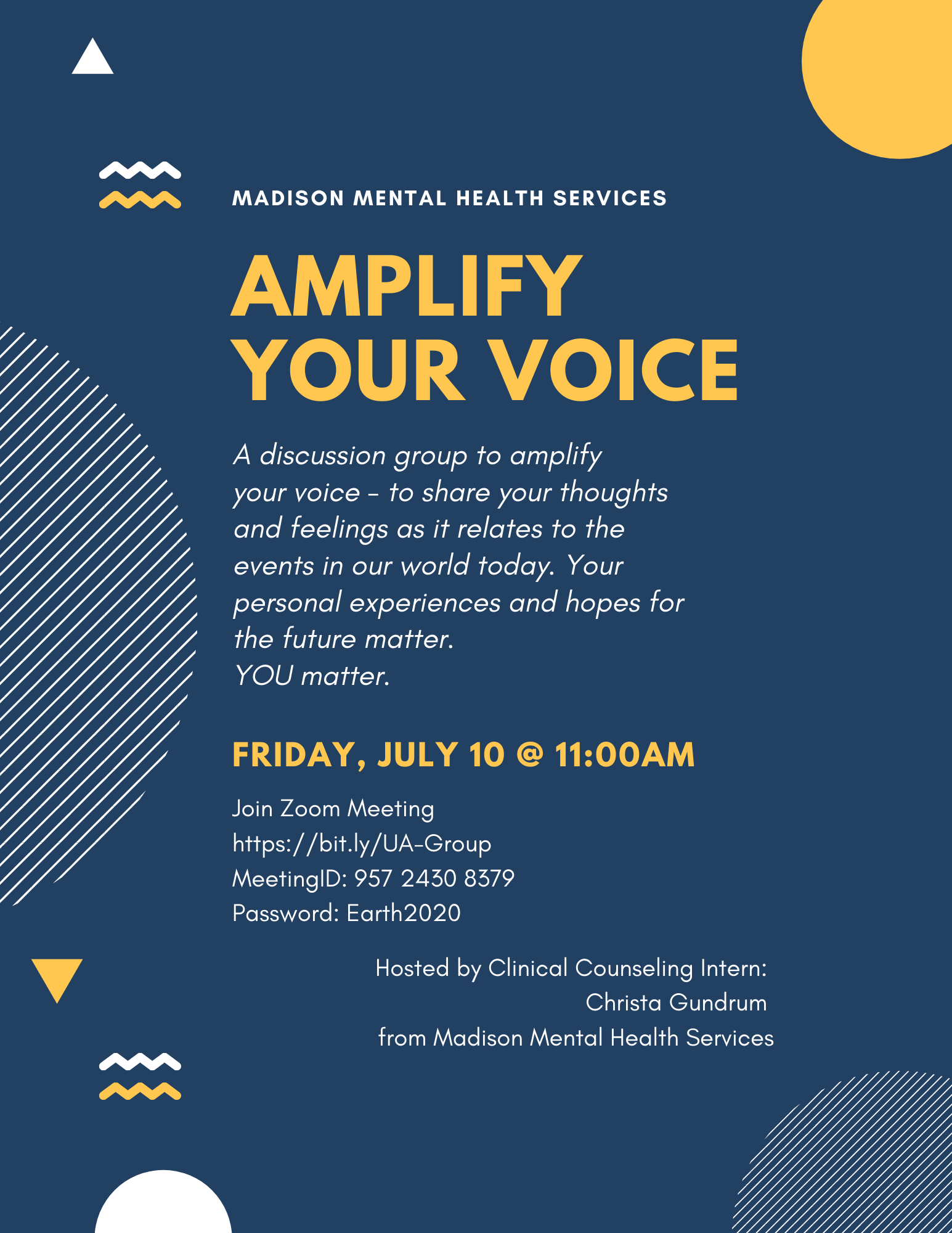 Amplify Your Voice with Madison Mental Health Services on Friday, July 10