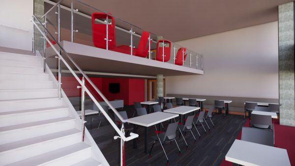 Rendering of the Sellery Hall renovation's 2-story lounge