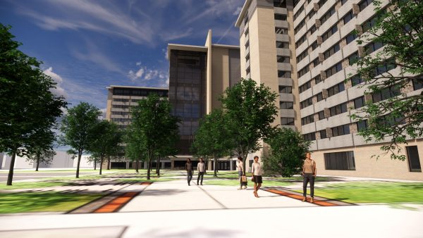 Rendering of the Sellery Hall renovation's backyard