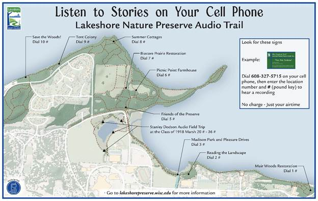 Map of Audio Stories in Lakeshore Preserve