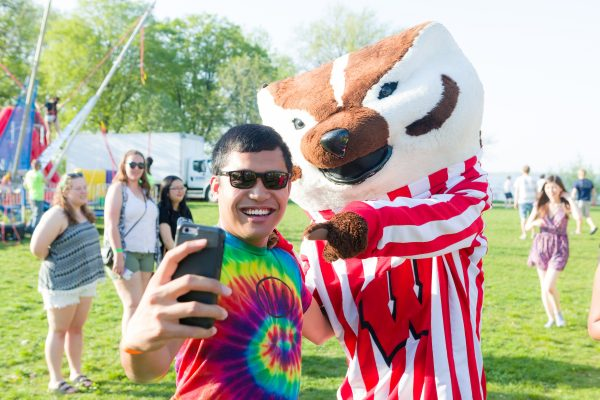 BLC resident with Bucky Badger