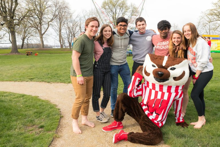 Residents with Bucky Badger at 2019 Devocation