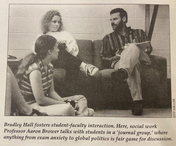 Professor Aaron Brower talks with BLC students