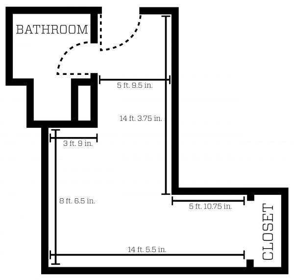 Lowell Single with Bath room layout showing dimensions