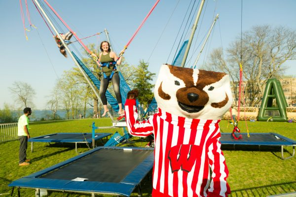 Bucky Badger and BLC resident at Devocation