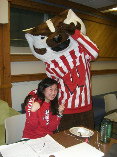 Bucky Badger with BLC resident