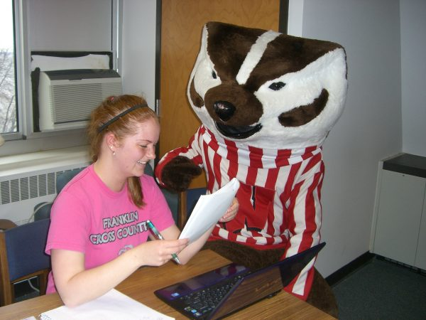 Bucky Badger with another BLC resident