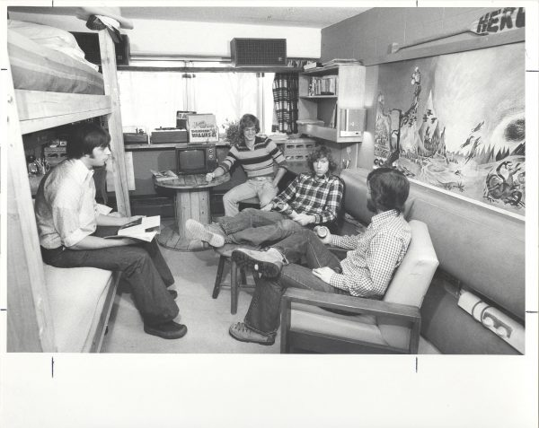 Students gathering in a Bradley Hall resident room