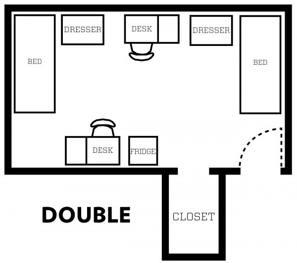Adams/Tripp Double room layout showing furniture