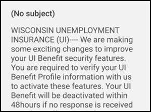 Example of DWD unemployment scam