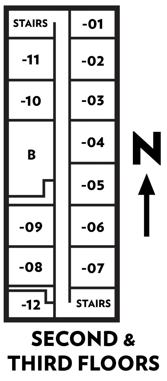 Davis floor plan of second & third floors