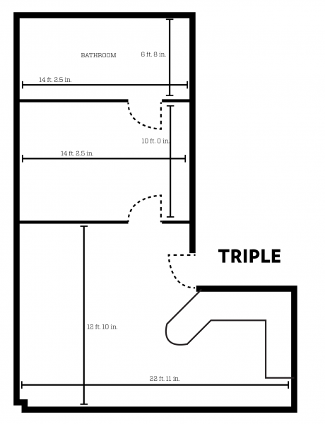 Barnard apartment layout with dimensions