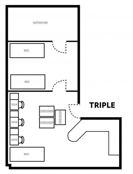 Barnard apartment layout with furniture