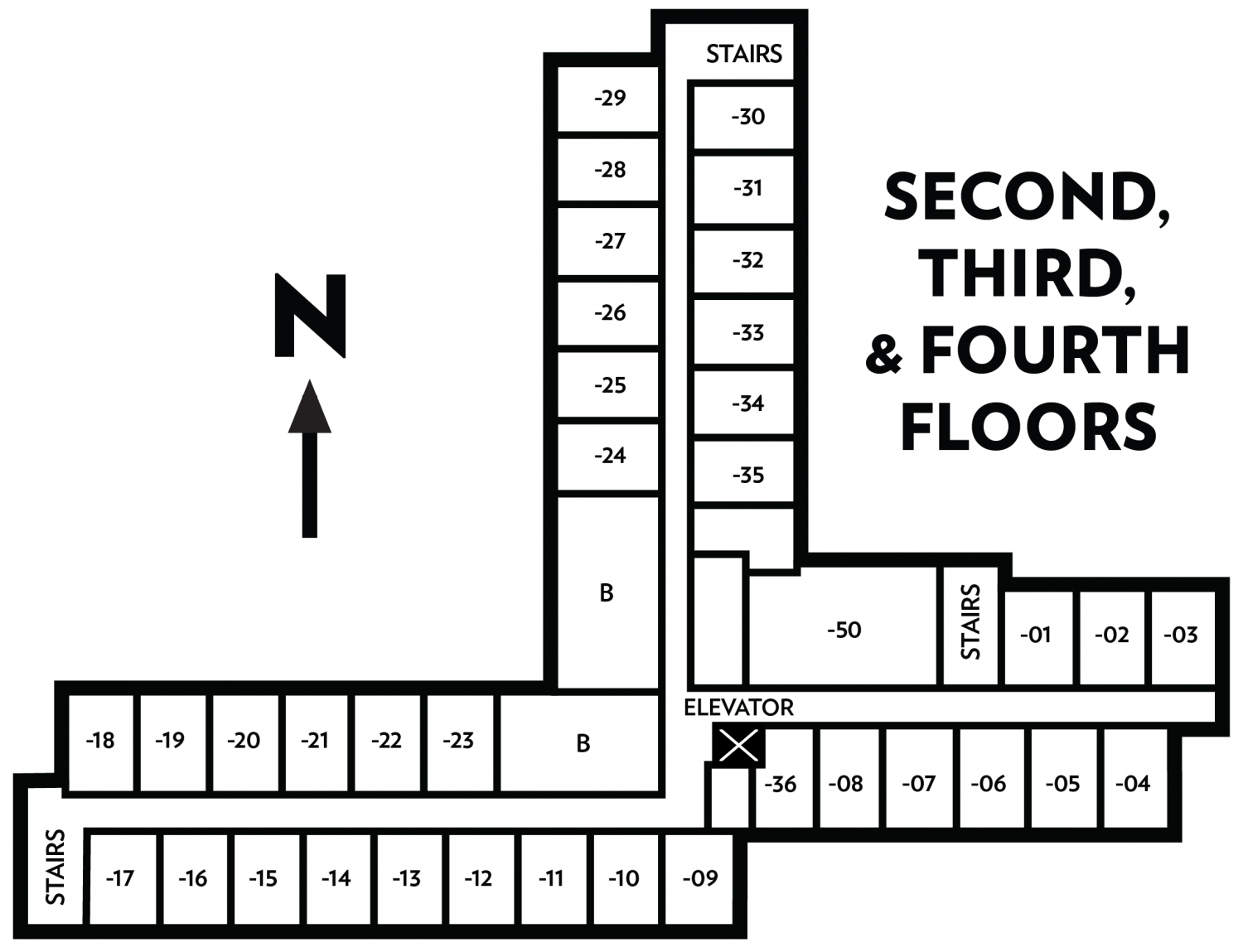 Bradley floor plan of second, third, and fourth floors