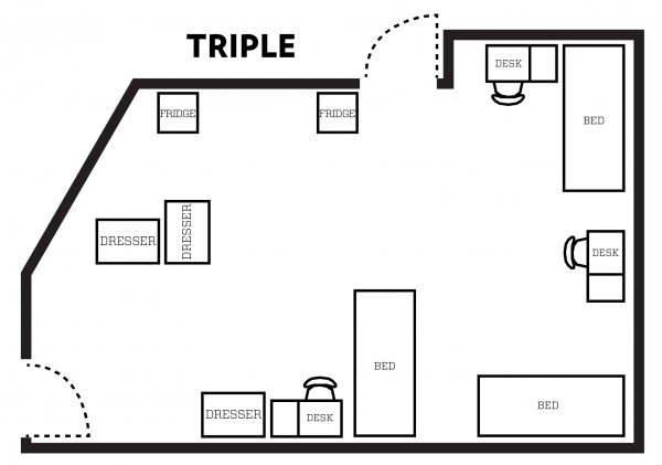 Chadbourne triple room layout with furniture