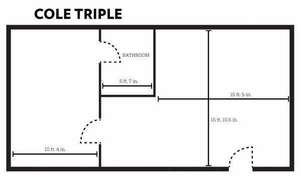 Cole apartment layout with dimensions